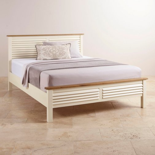 Shutter Brushed Oak and Painted 5ft King-Size Bed