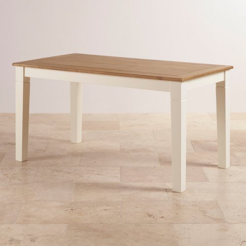 "Shutter Brushed Oak and Painted 5ft x 2ft 6"" Dining Table"