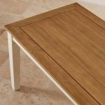 """Shutter Brushed Oak and Painted 5ft x 2ft 6"""" Dining Table - Thumbnail 5"""