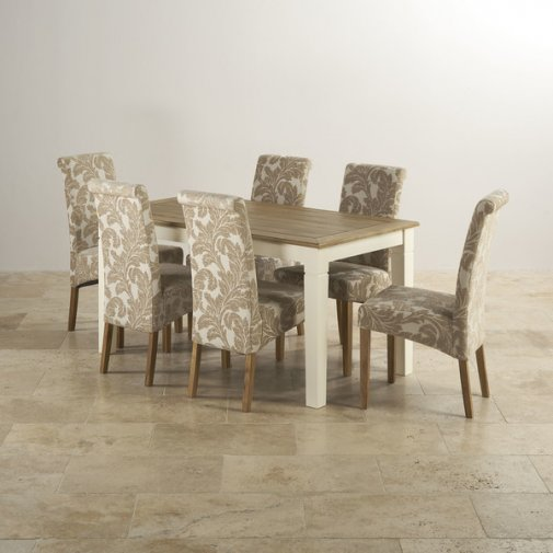 "Shutter Brushed Oak and Painted 5ft x 2ft 6"" Dining Table with 6 Scroll Back Beige Patterned Chairs"