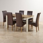 """Shutter Brushed Oak and Painted 5ft x 2ft 6"""" Dining Table with 6 Scroll Back Brown Leather Chairs - Thumbnail 2"""