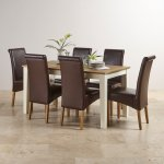 """Shutter Brushed Oak and Painted 5ft x 2ft 6"""" Dining Table with 6 Scroll Back Brown Leather Chairs - Thumbnail 3"""