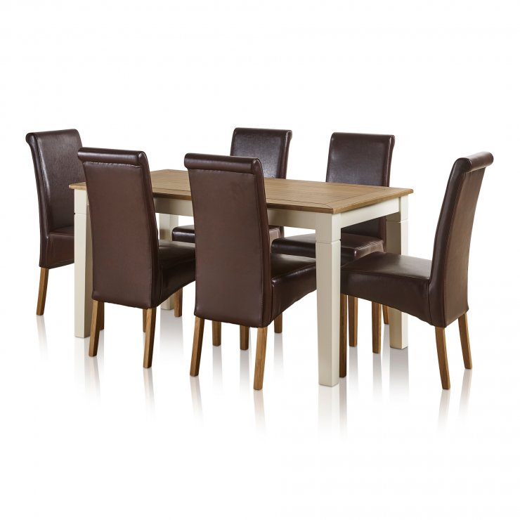 """Shutter Brushed Oak and Painted 5ft x 2ft 6"""" Dining Table with 6 Scroll Back Brown Leather Chairs - Image 3"""