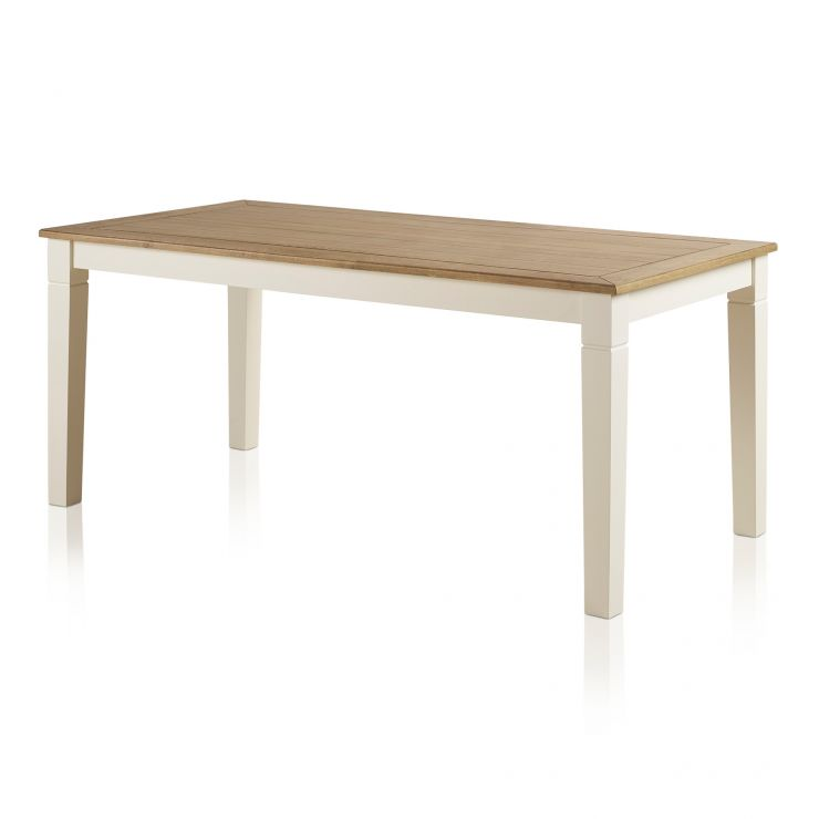 Shutter Brushed Oak and Painted 6ft Dining Table - Image 1