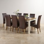 Shutter Brushed Oak and Painted 6ft Dining Table with 8 Scroll Back Brown Leather Chairs - Thumbnail 2