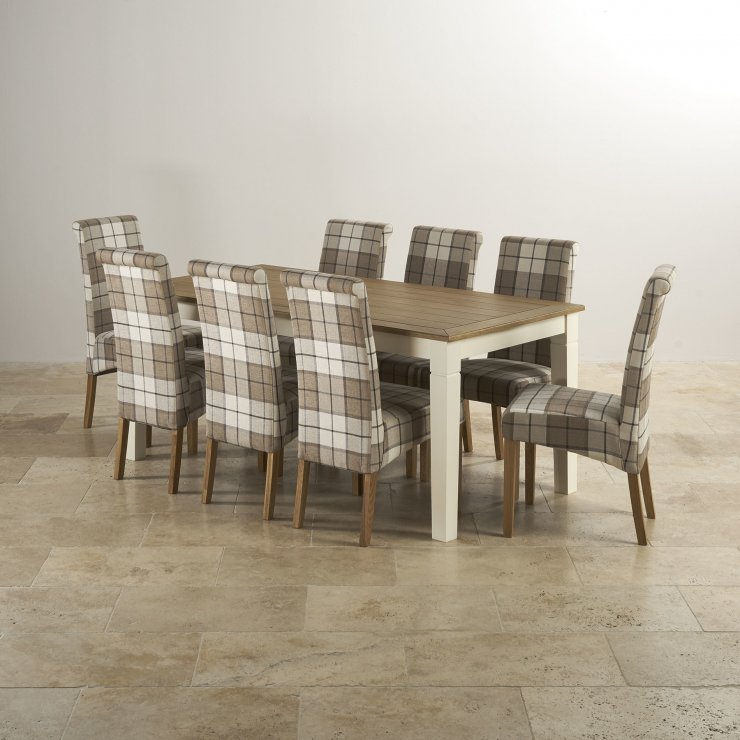 Shutter Brushed Oak and Painted 6ft Dining Table with 8 Scroll Back Check Brown Chairs