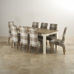 Shutter Brushed Oak and Painted 6ft Dining Table with 8 Scroll Back Check Brown Chairs - Thumbnail 1