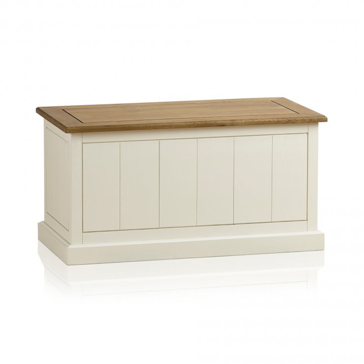 Shutter Brushed Oak and Painted Blanket Box - Image 4