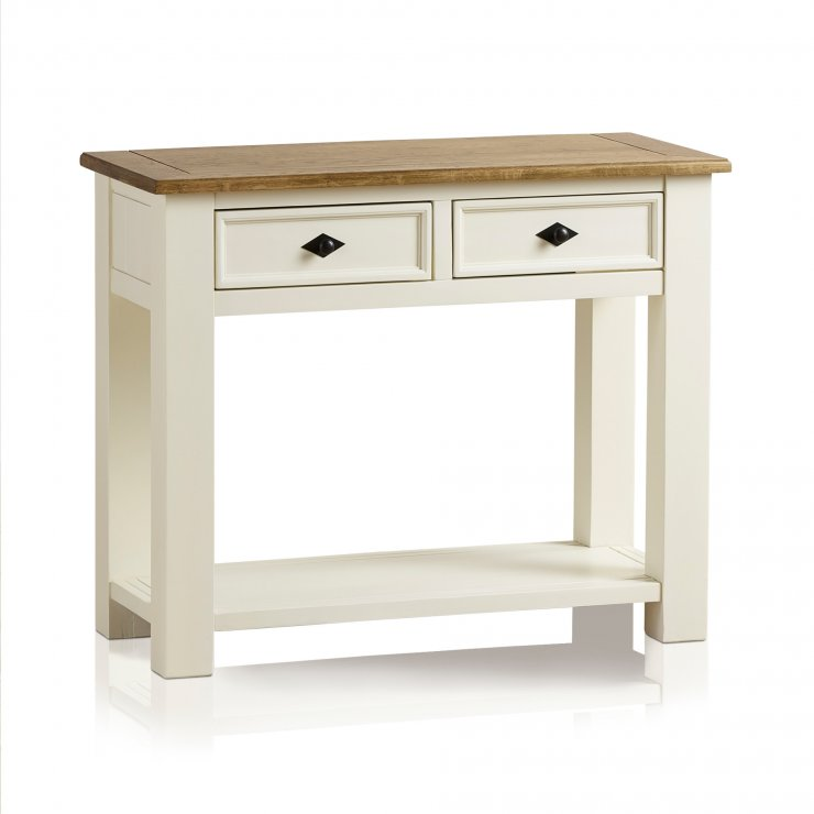 Shutter Brushed Oak and Painted Console Table - Image 8