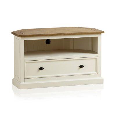 Shutter Brushed Oak and Painted Corner TV Cabinet