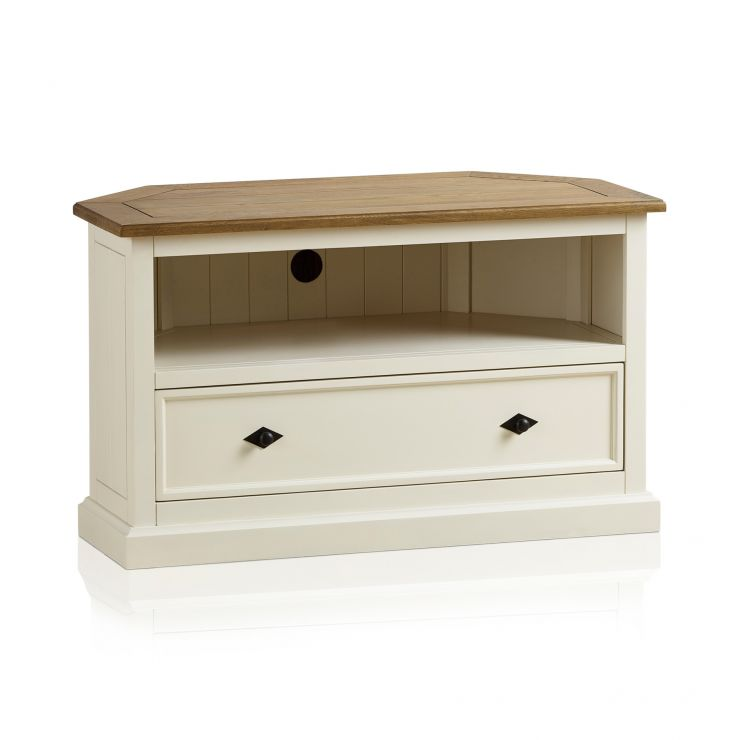 Shutter Brushed Oak and Painted Corner TV Cabinet - Image 6