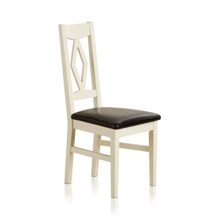 Shutter Brushed Oak and Painted Dining Chair in Black Leather Upholstery - Image 4