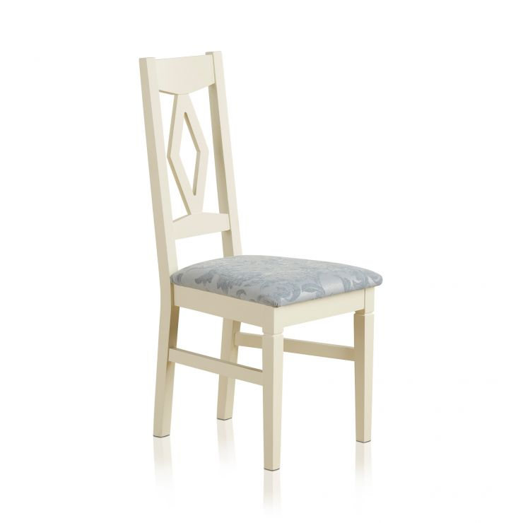 Shutter Brushed Oak and Painted Dining Chair in Patterned Duck Egg Upholstery - Image 4