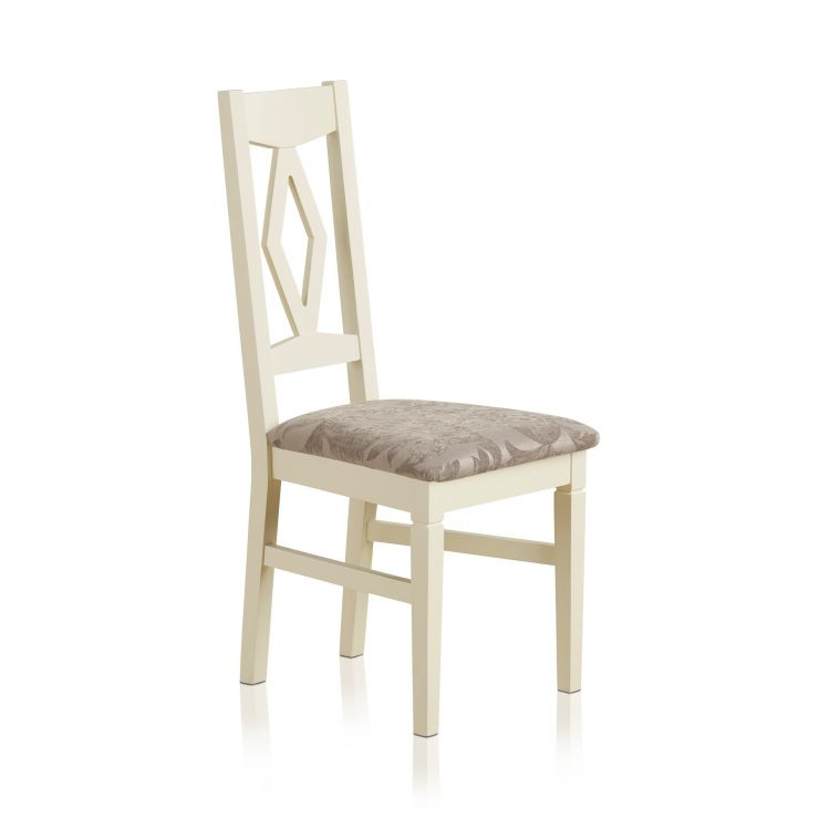 Shutter Brushed Oak and Painted Dining Chair in Patterned Silver Upholstery - Image 4