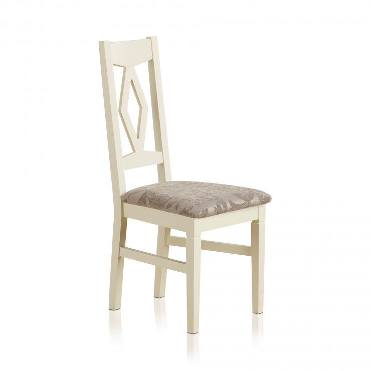 Shutter Brushed Oak and Painted Dining Chair in Patterned Silver Upholstery - Image 3