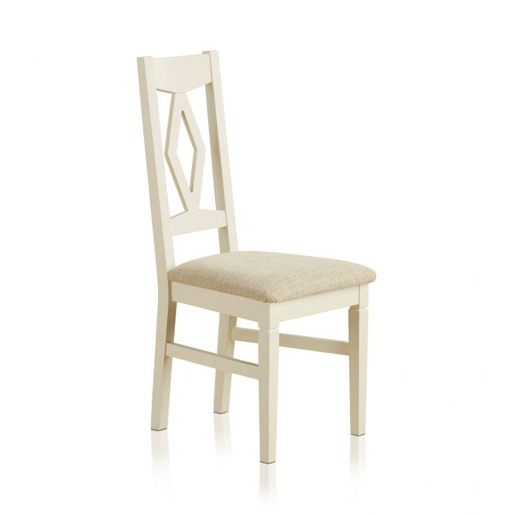 Shutter Brushed Oak and Painted Dining Chair in Plain Beige Upholstery - Image 4
