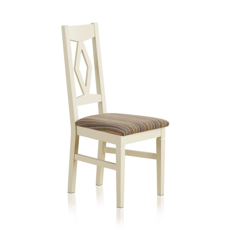 Shutter Brushed Oak and Painted Dining Chair in Striped Multi-coloured Upholstery - Image 4