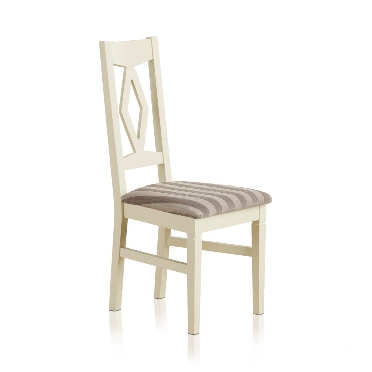 Shutter Brushed Oak and Painted Dining Chair in Striped Silver Upholstery - Image 4