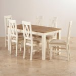 Shutter Brushed Oak and Painted Dining Set - 5ft Dining Table with 6 Plain Beige Shutter Chairs - Thumbnail 2