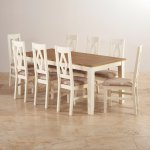 Shutter Brushed Oak and Painted Dining Set - 6ft Dining Table with 8 Patterned Beige Shutter Chairs - Thumbnail 2