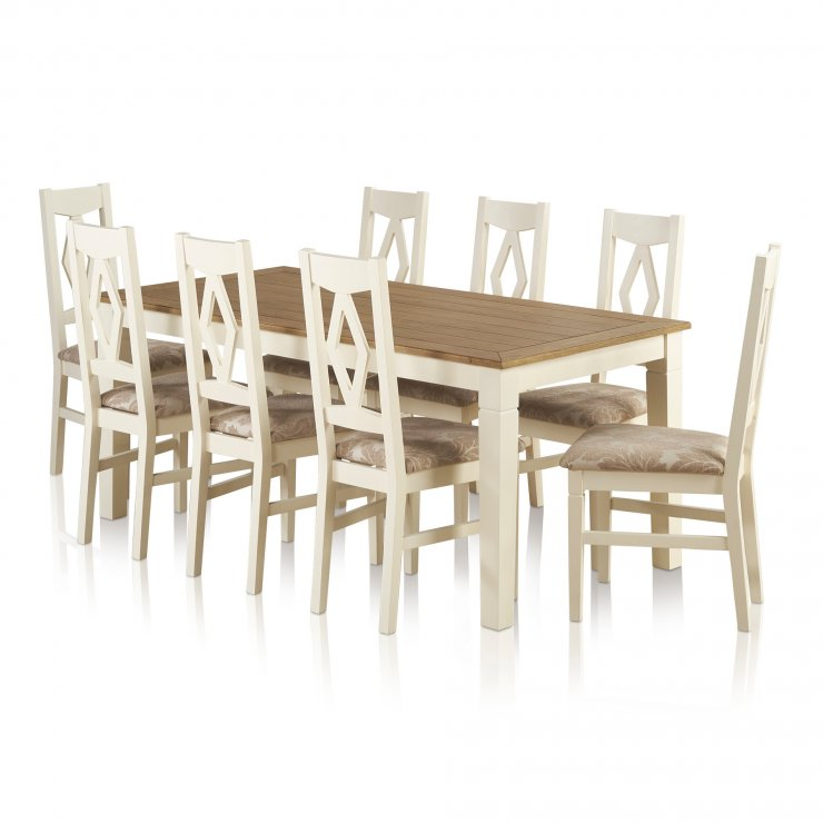 Shutter Brushed Oak and Painted Dining Set - 6ft Dining Table with 8 Patterned Beige Shutter Chairs - Image 7