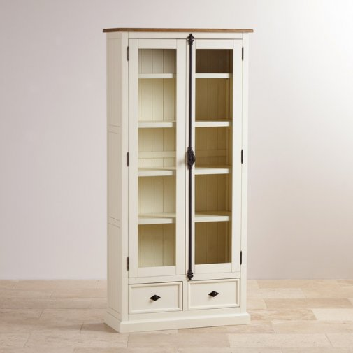 Shutter Brushed Oak and Painted Display Cabinet