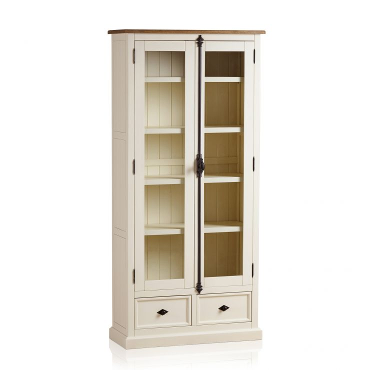 Shutter Brushed Oak and Painted Display Cabinet - Image 7