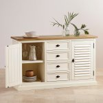 Shutter Brushed Oak and Painted Large Sideboard - Thumbnail 4