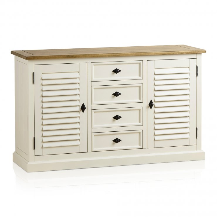 Shutter Brushed Oak and Painted Large Sideboard - Image 9