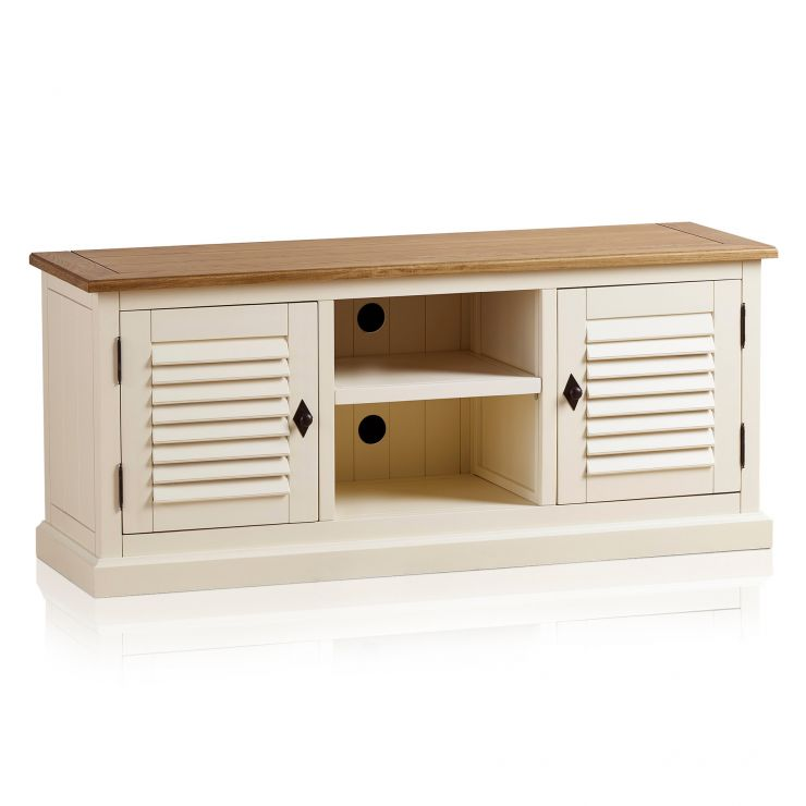Shutter Brushed Oak and Painted Large TV Cabinet - Image 7