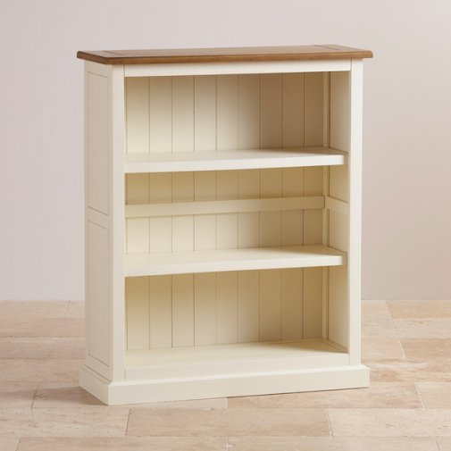 Shutter Brushed Oak and Painted Small Bookcase