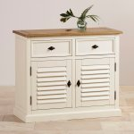 Shutter Brushed Oak and Painted Small Sideboard - Thumbnail 3