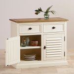 Shutter Brushed Oak and Painted Small Sideboard - Thumbnail 4