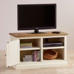 Shutter Brushed Oak and Painted Small TV Cabinet - Thumbnail 3