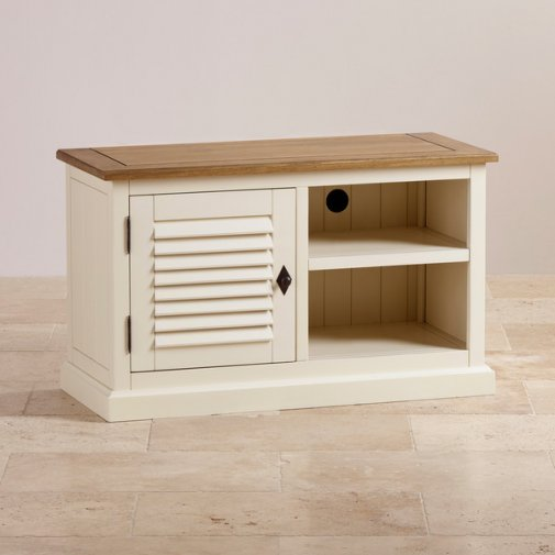 Shutter Brushed Oak and Painted Small TV Cabinet
