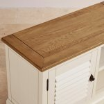 Shutter Brushed Oak and Painted Small TV Cabinet - Thumbnail 6