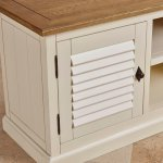 Shutter Brushed Oak and Painted Small TV Cabinet - Thumbnail 7