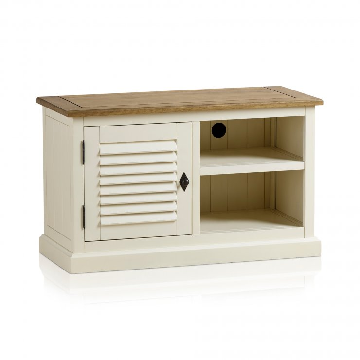 Shutter Brushed Oak and Painted Small TV Cabinet - Image 10