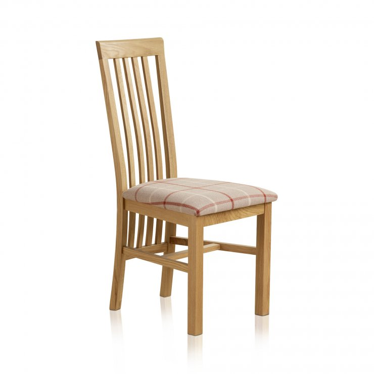 Slat Back Natural Solid Oak and Check Natural Fabric Dining Chair - Image 3