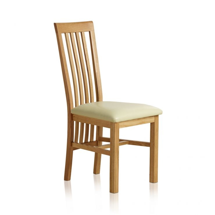 Slat Back Natural Solid Oak and Cream Leather Dining Chair