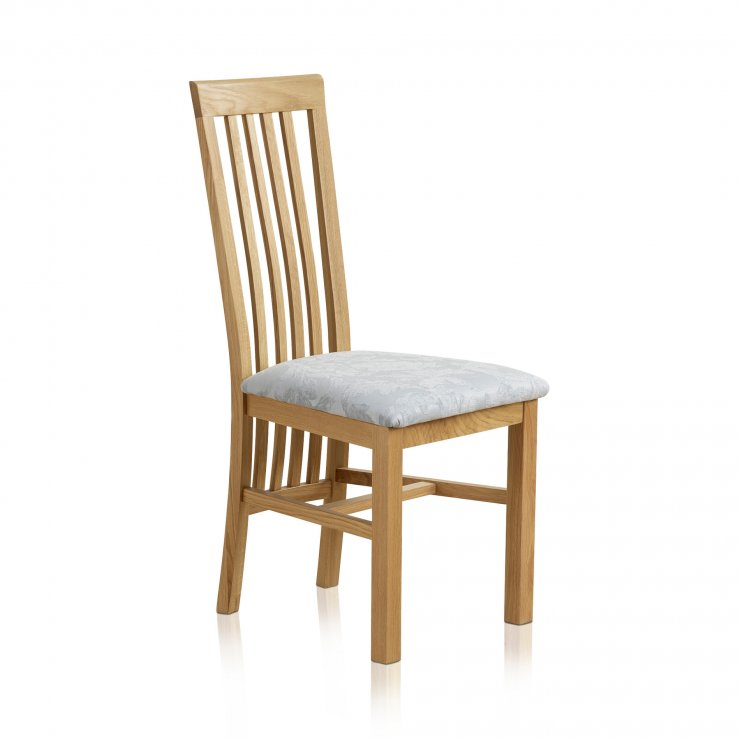 Slat Back Natural Solid Oak and Patterned Duck Egg Fabric Dining Chair - Image 3