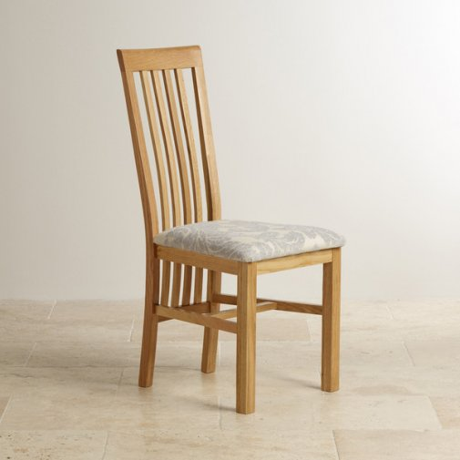 Slat Back Natural Solid Oak and Patterned Grey Fabric Dining Chair Frame