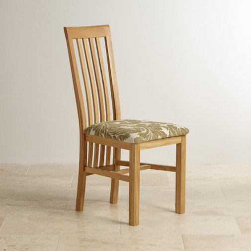 Slat Back Natural Solid Oak and Patterned Sage Fabric Dining Chair