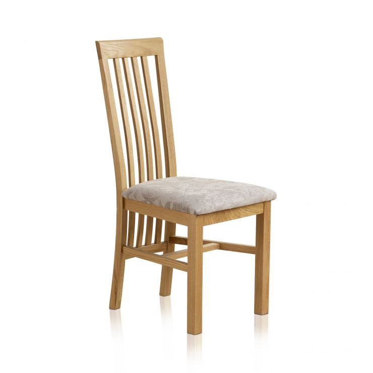 Slat Back Natural Solid Oak and Patterned Silver Fabric Dining Chair