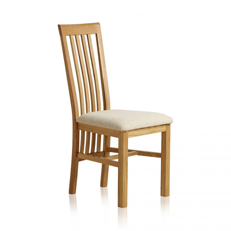 Slat Back Natural Solid Oak and Plain Beige Fabric Dining Chair - Image 2