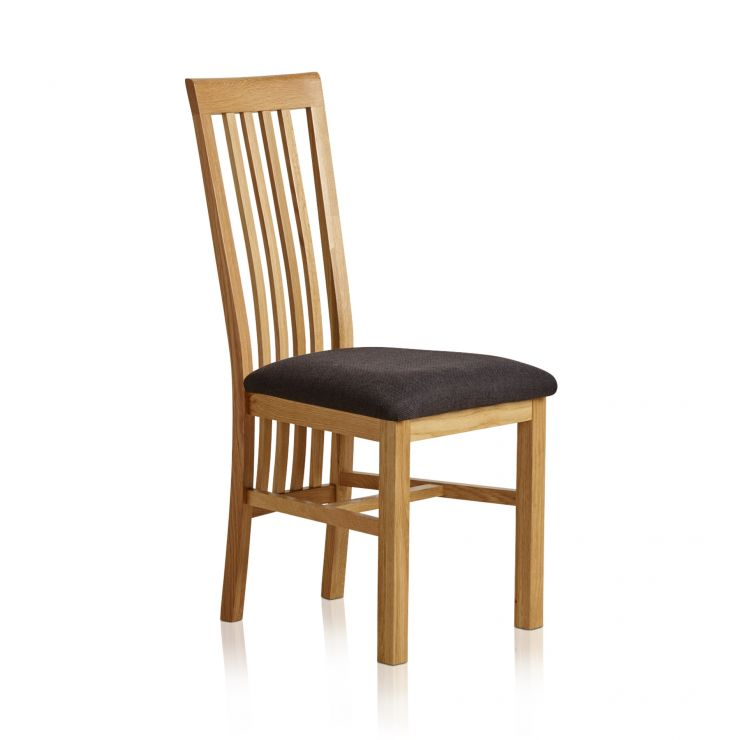 Slat Back Natural Solid Oak and Plain Black Fabric Dining Chair - Image 3