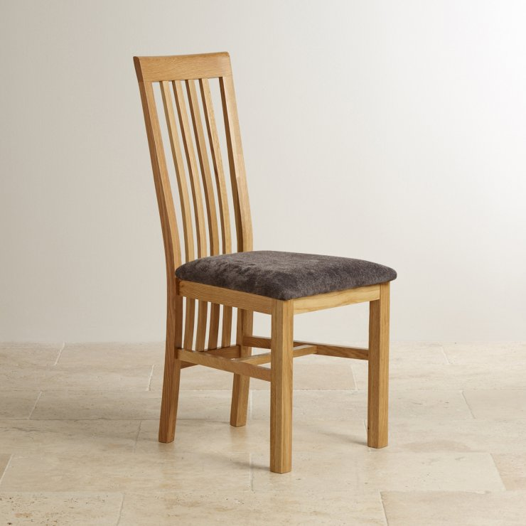 Slat Back Natural Solid Oak and Plain Charcoal Fabric Dining Chair