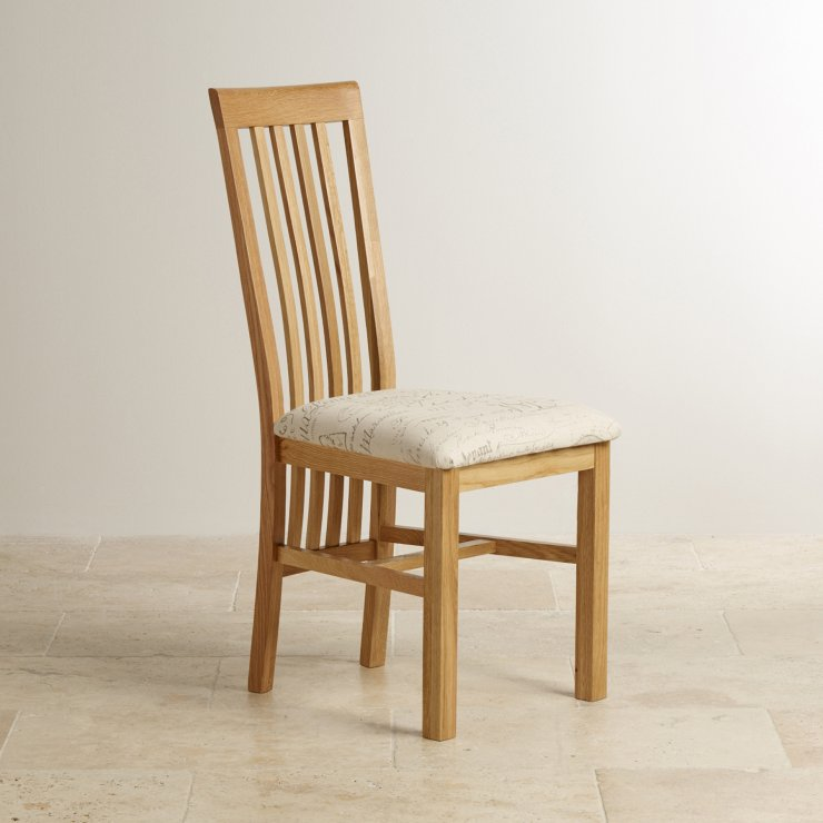 Slat Back Natural Solid Oak and Scripted Beige Fabric Chair