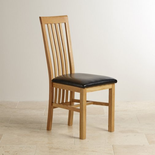 Slat Back Natural Solid Oak and Black Leather Dining Chair