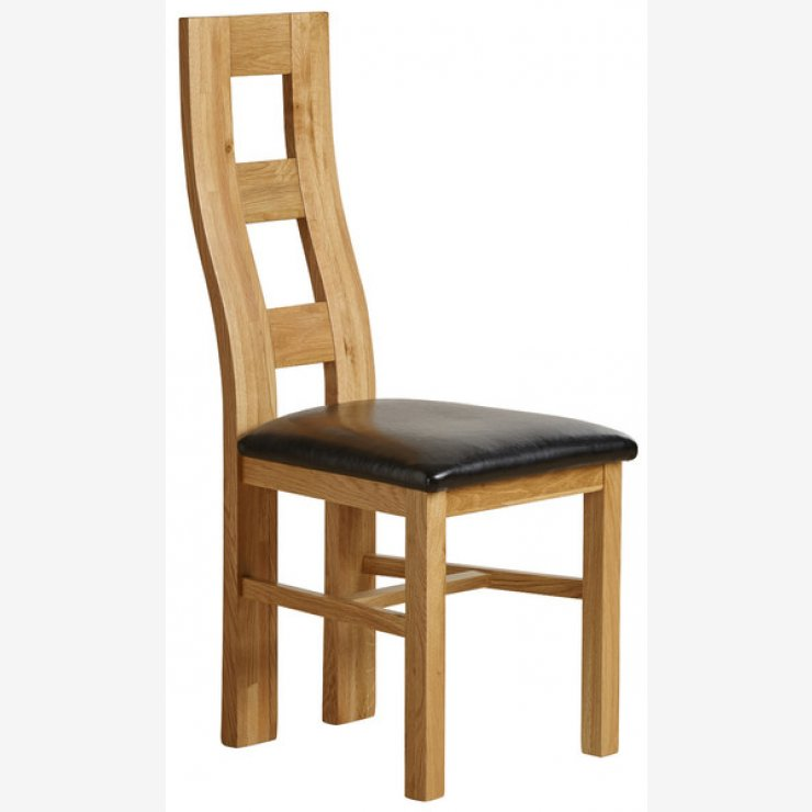 Wave Back Dining Chair in Natural Solid Oak and Black Leather  - Image 4